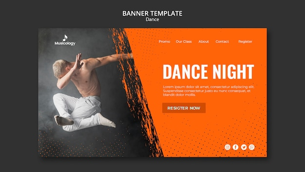 Man Dabbing In The Air Musicology Banner Template Free Psd File