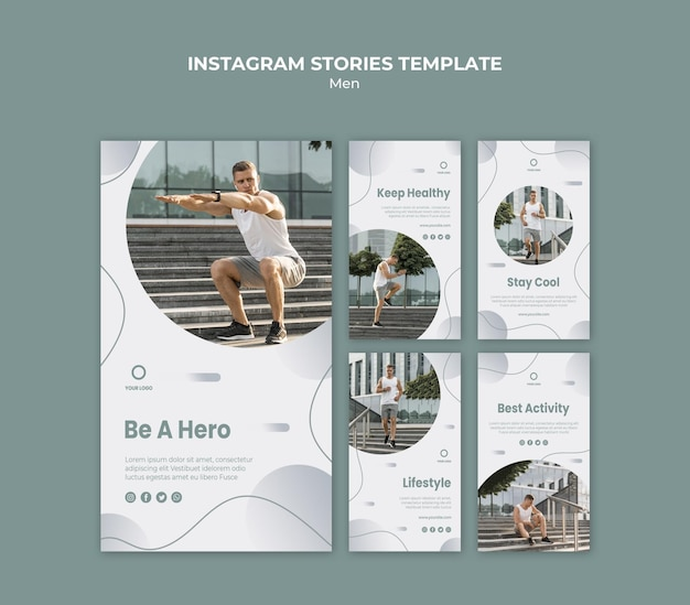 Man doing his workout instagram stories Free Psd