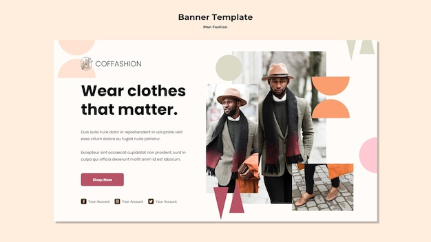 Man fashion concept banner template Free Psd
