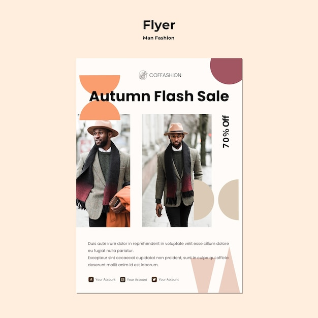 Man fashion concept flyer template Free Psd