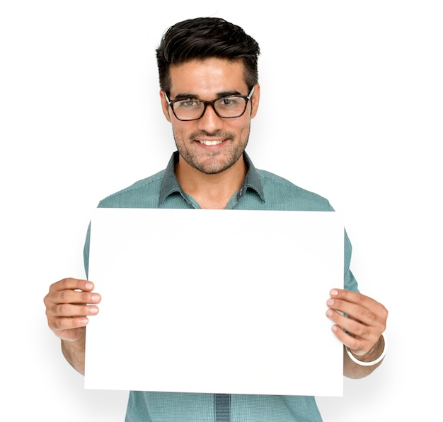 Man hold blank paper board copy space Premium Psd