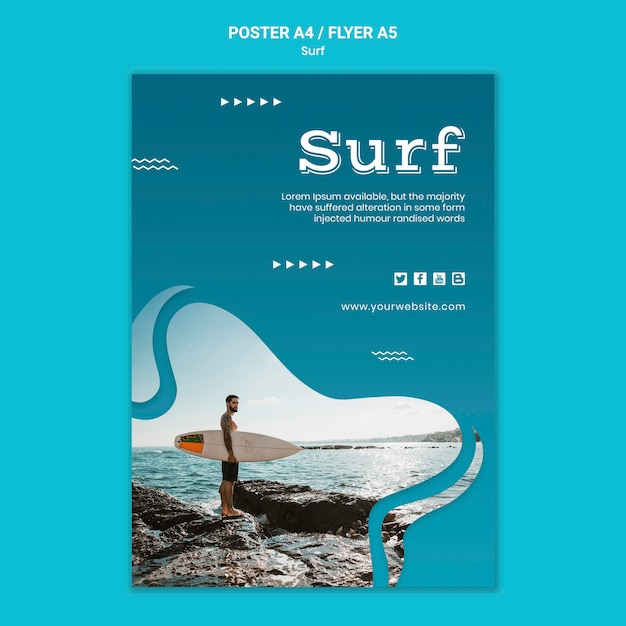 서핑 보드 포스터를 들고 남자 무료 PSD 파일