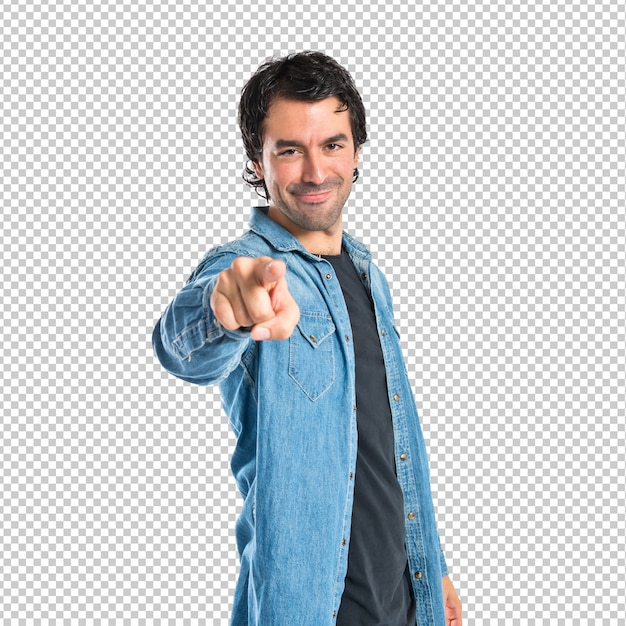Man pointing to the front over white background Premium Psd