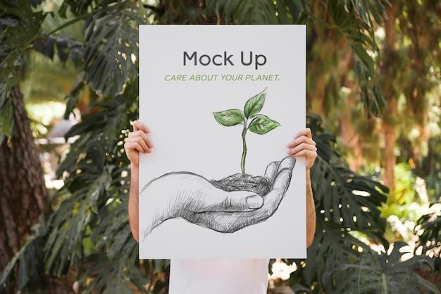 공원 앞 포스터 이랑 제시하는 사람 무료 PSD 파일