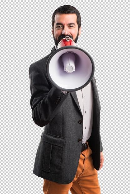 Man shouting by megaphone Premium Psd