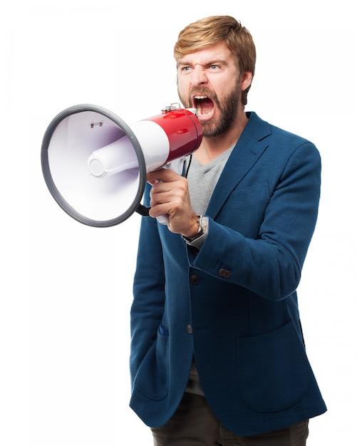 Человек кричал через мегафон Бесплатные Psd