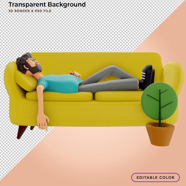 Man sleeping on a yellow sofa. 3d illustration. Premium Psd