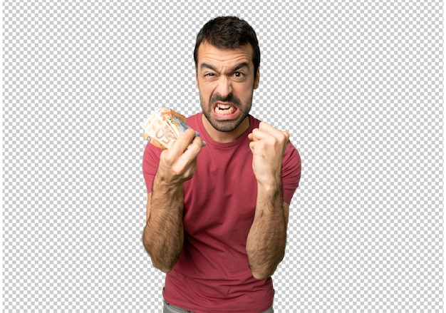 Man taking a lot of money frustrated by a bad situation Premium Psd