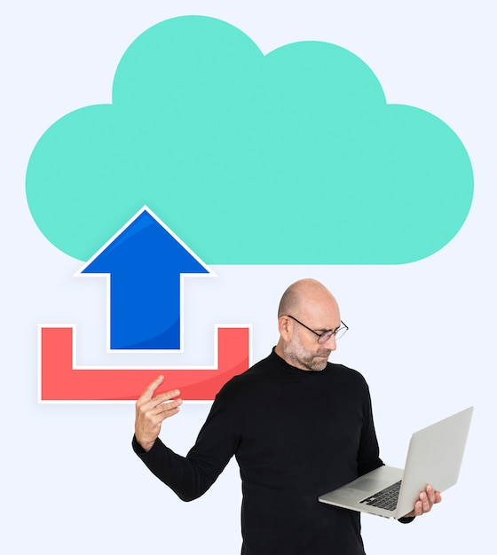 Man uploading to a cloud network Premium Psd