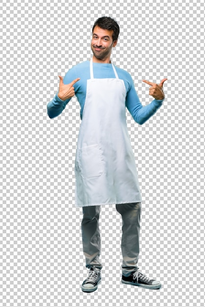 Man wearing an apron proud and self-satisfied in love yourself concept Premium Psd