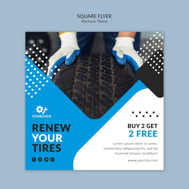 Man wearing gloves and holding a tire square flyer Free Psd