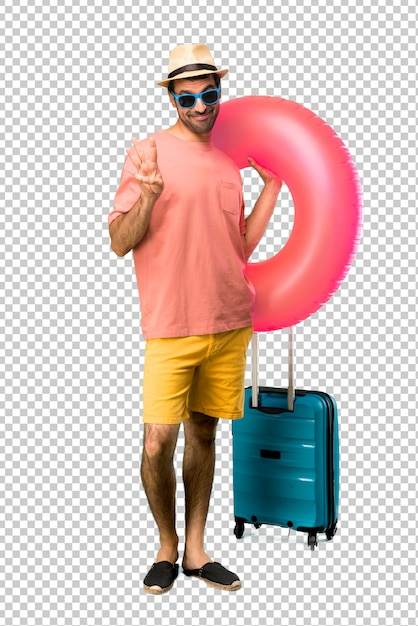 Man with hat and sunglasses on his summer vacation happy and counting three with fingers Premium Psd