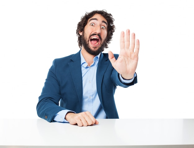 Man with one hand raised Free Psd