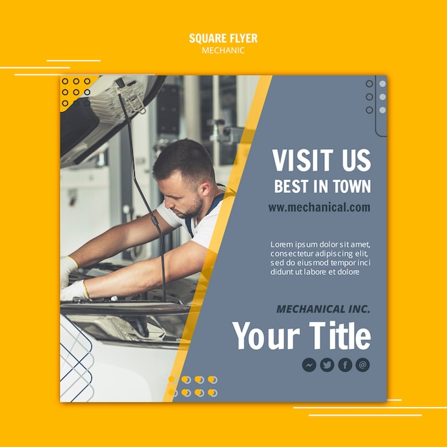 Man working as mechanic assistant square flyer Free Psd