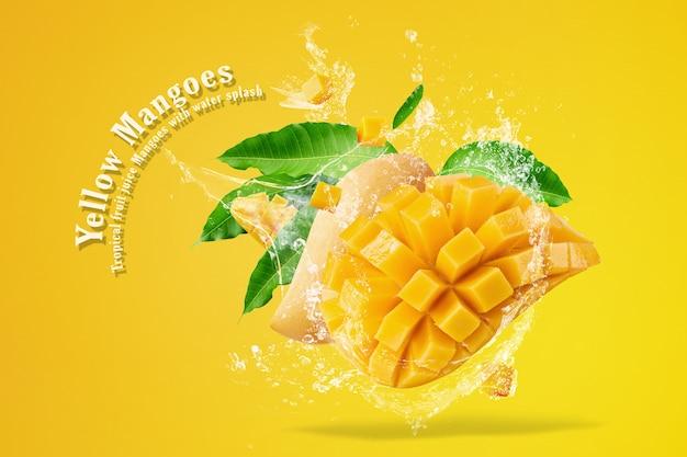 Mango fruit with mango cubes and slices isolated on white background Premium Psd