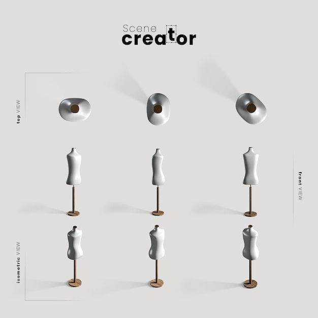 Mannequin various angles for scene creator illustrations Free Psd