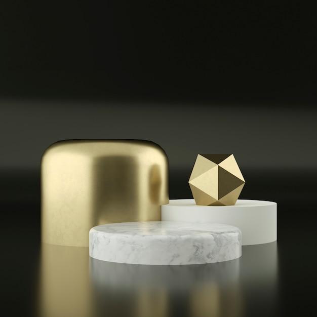 Мраморные постаменты с золотым орнаментом Premium Psd