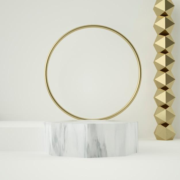 Мраморный подиум и золотые украшения Premium Psd