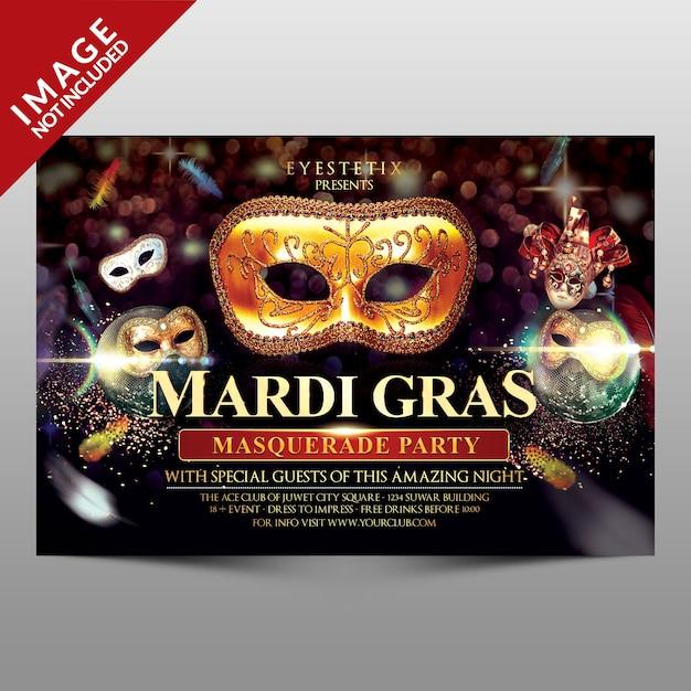 Mardi gras masquerade party flyer Premium Psd