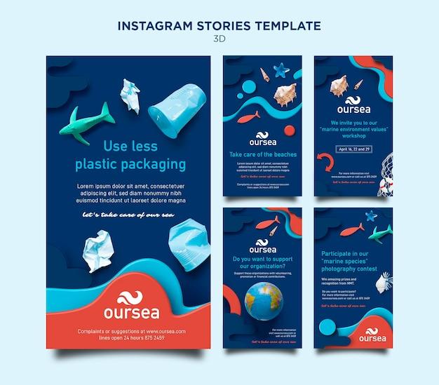 Instagram рассказы о морской среде Premium Psd