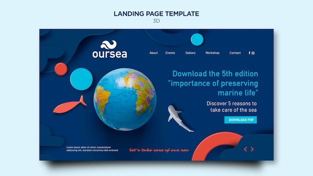 Marine environment workshop landing page Free Psd