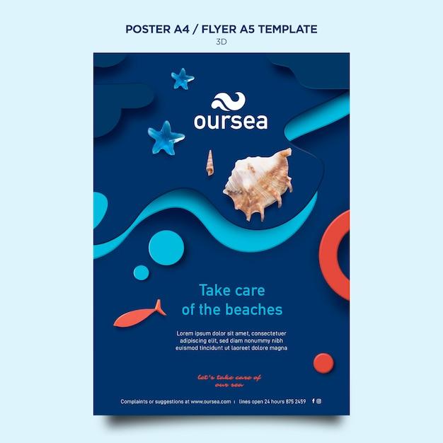 Шаблон плаката семинара по морской среде Бесплатные Psd