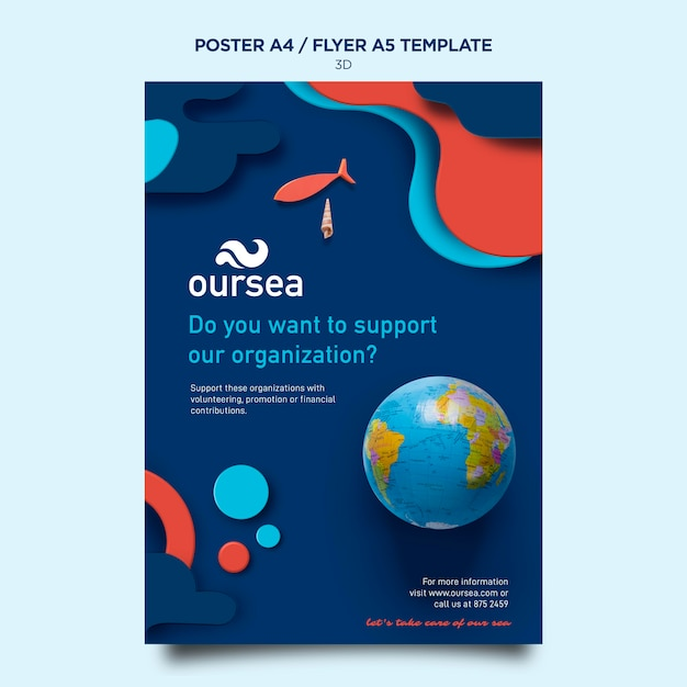 Marine environment workshop poster template Free Psd