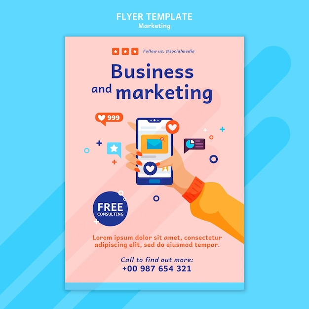 Marketing flyer template with photo Free Psd
