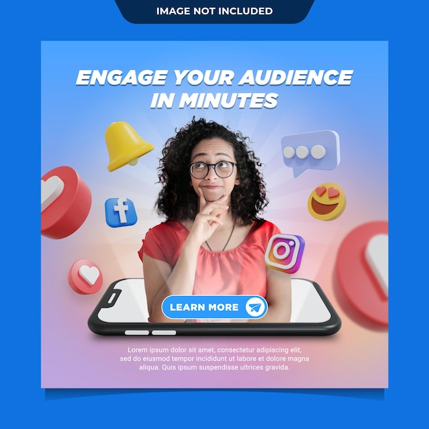 Marketing instagram social media post template Premium Psd