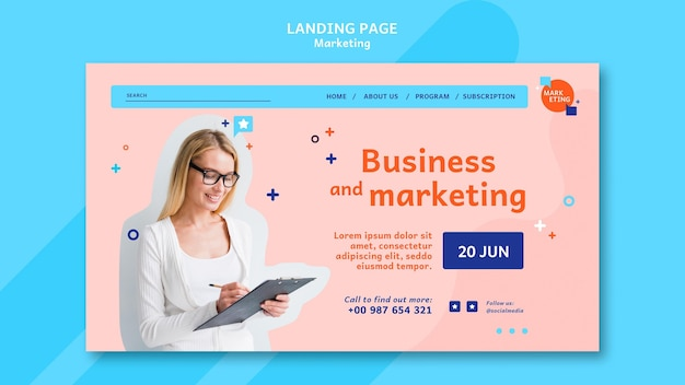 Marketing landing page template with photo Free Psd