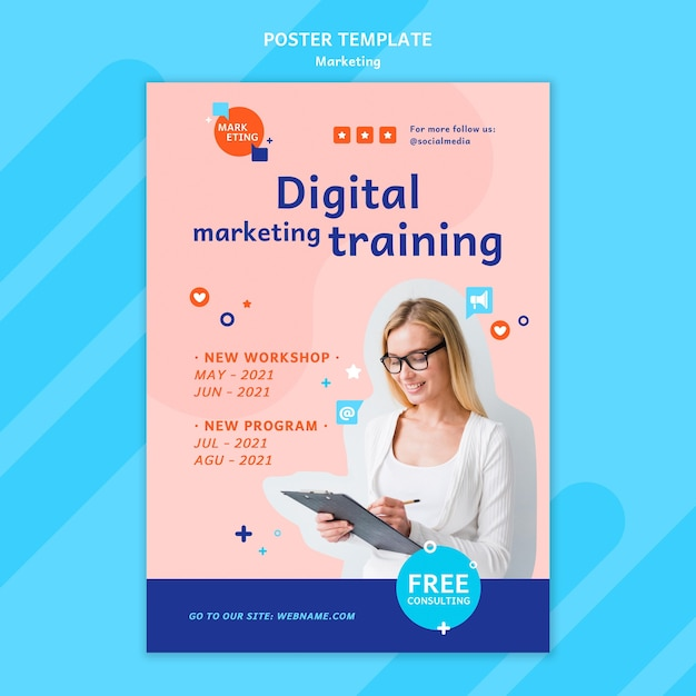 Marketing poster template with photo Free Psd