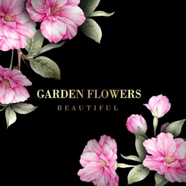 Свадебная открытка с цветами сакуры Premium Psd