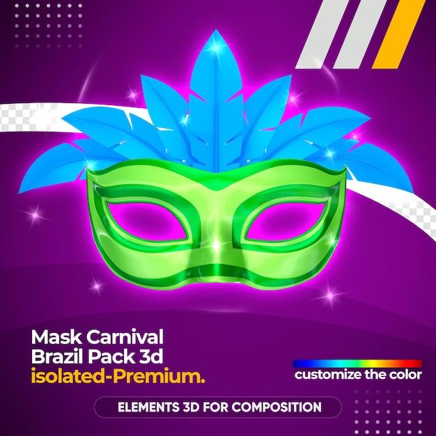Маска карнавальный логотип в 3d рендеринге Premium Psd