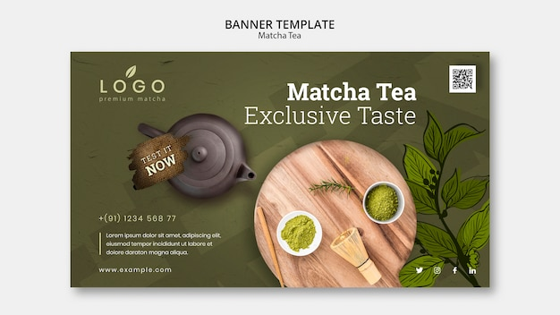 Matcha tea banner template with picture Free Psd