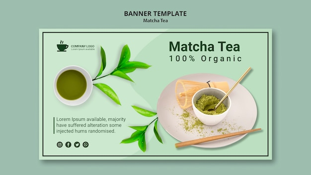 Matcha tea concept for banner template Free Psd