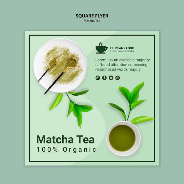 Matcha tea concept for flyer template Free Psd