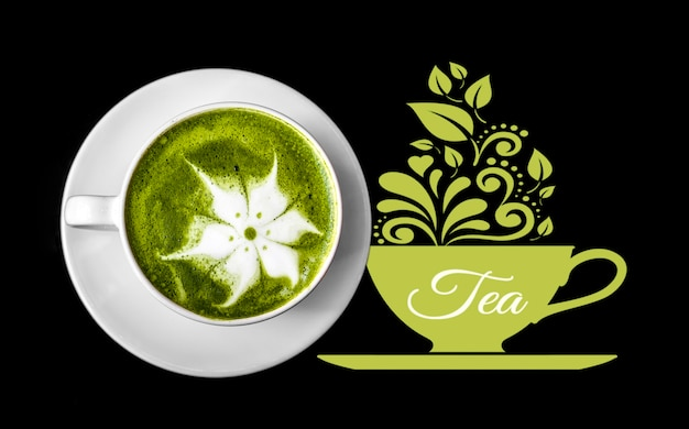 Matcha tea cup with milk on black background Free Psd