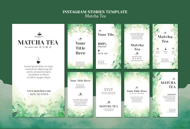 Matcha tea instagram stories tamplate concept mock-up Free Psd