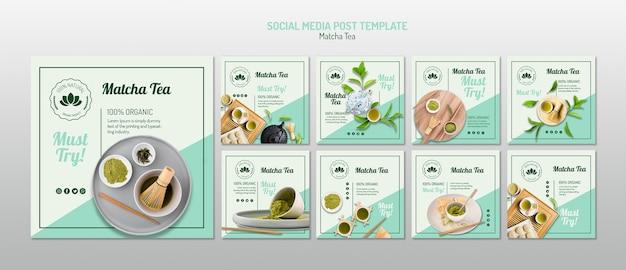 Matcha tea social media template Free Psd