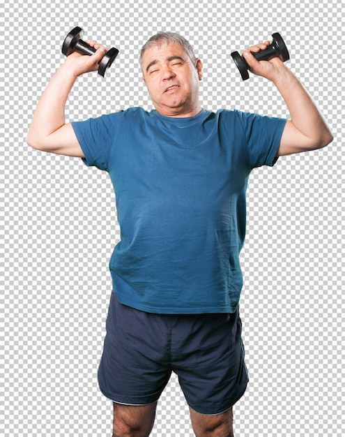 Mature man doing exercise with dumbbell Premium Psd