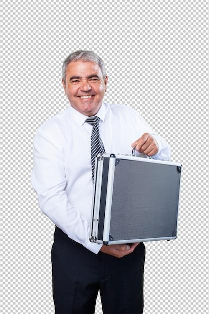 スーツケースを持って成熟した男 Premium Psd