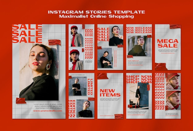Maximalist online shopping instagram stories template Premium Psd