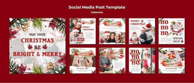 Пусть ваше рождество будет ярким и веселым постами в инстаграм Premium Psd