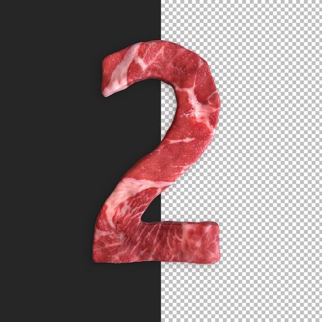 검은 배경에 고기 알파벳, 숫자 2 프리미엄 PSD 파일