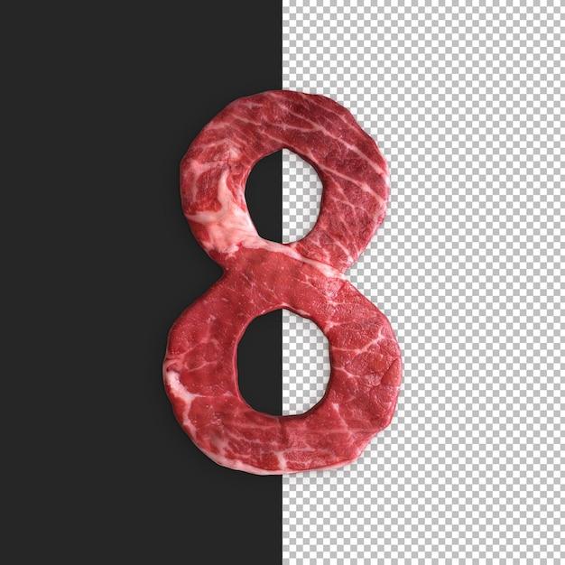 검은 배경에 고기 알파벳, 숫자 8 프리미엄 PSD 파일