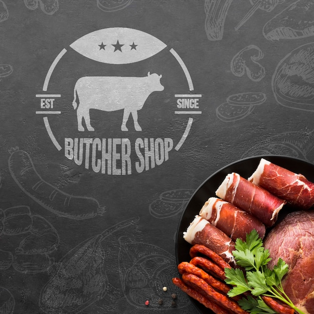 Meat products with background mock-up Free Psd