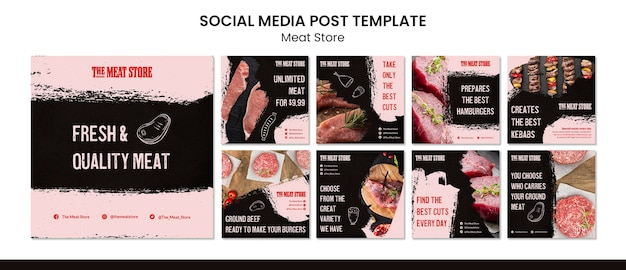 Meat store concept social media post template Free Psd