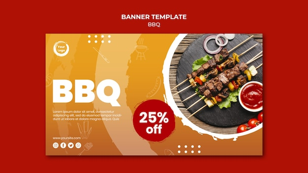 Meat and veggies skewers banner template Free Psd