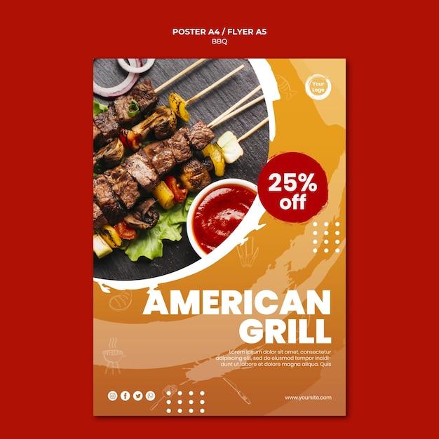 Meat and veggies skewers poster template Premium Psd