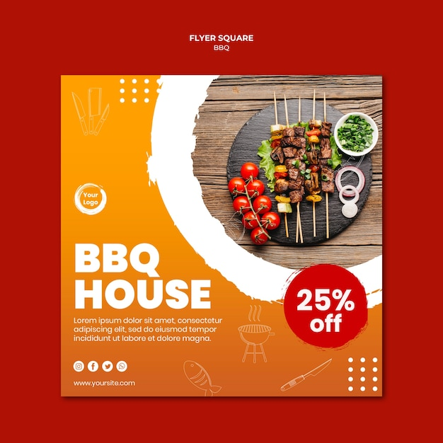 Meat and veggies skewers square flyer template Premium Psd